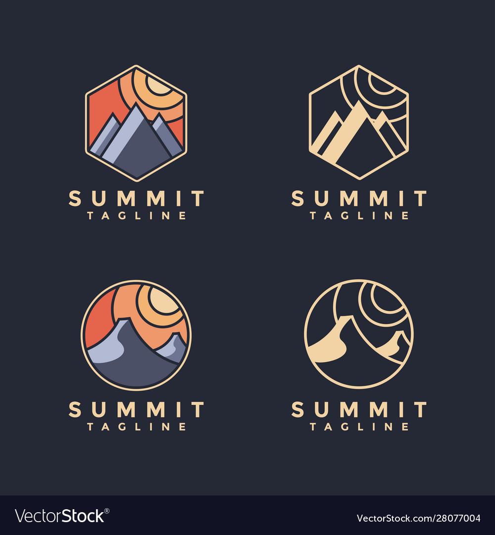 Minimalist summit landscape logo set