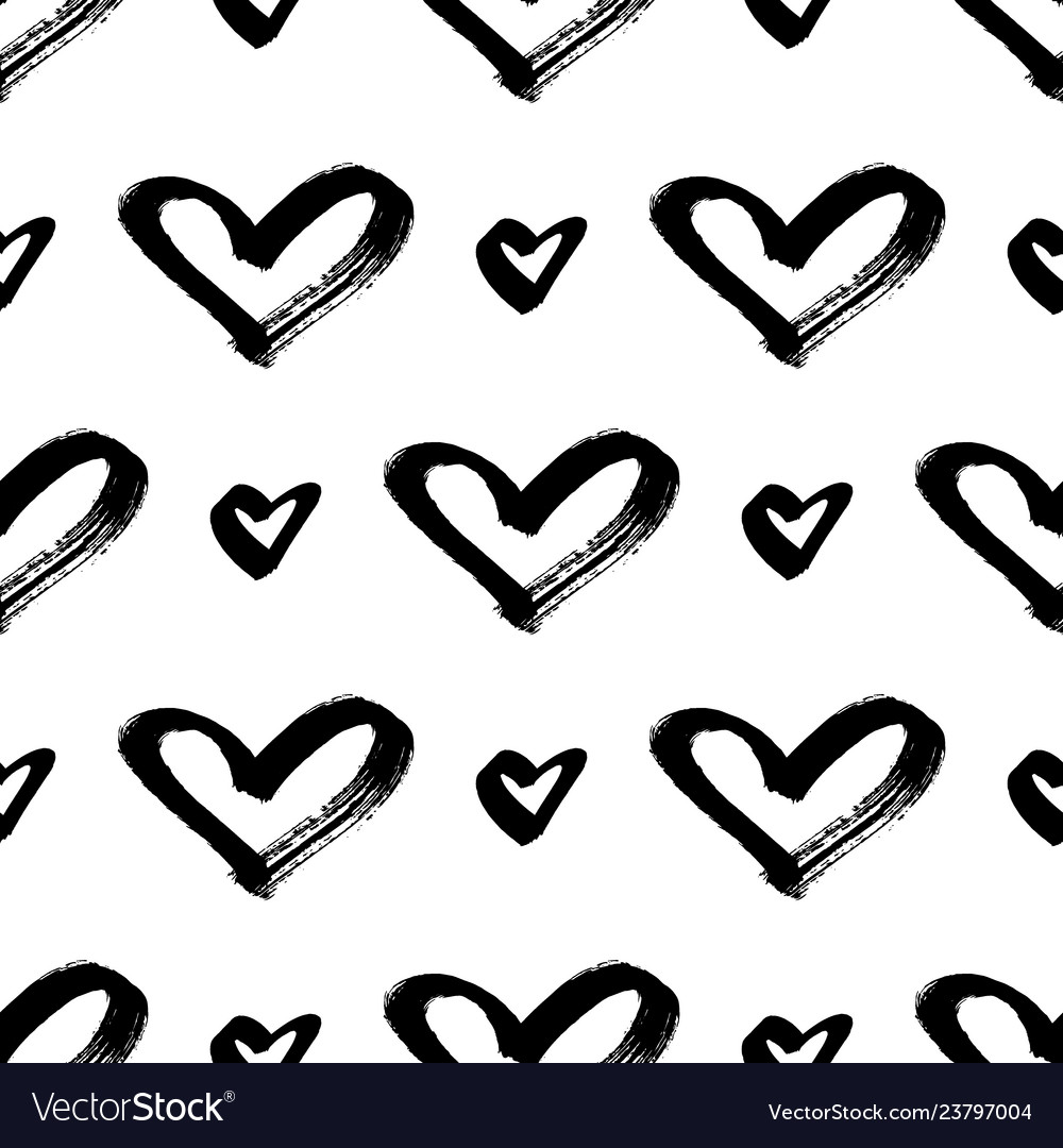 Seamless hearts pattern brush painted hearts
