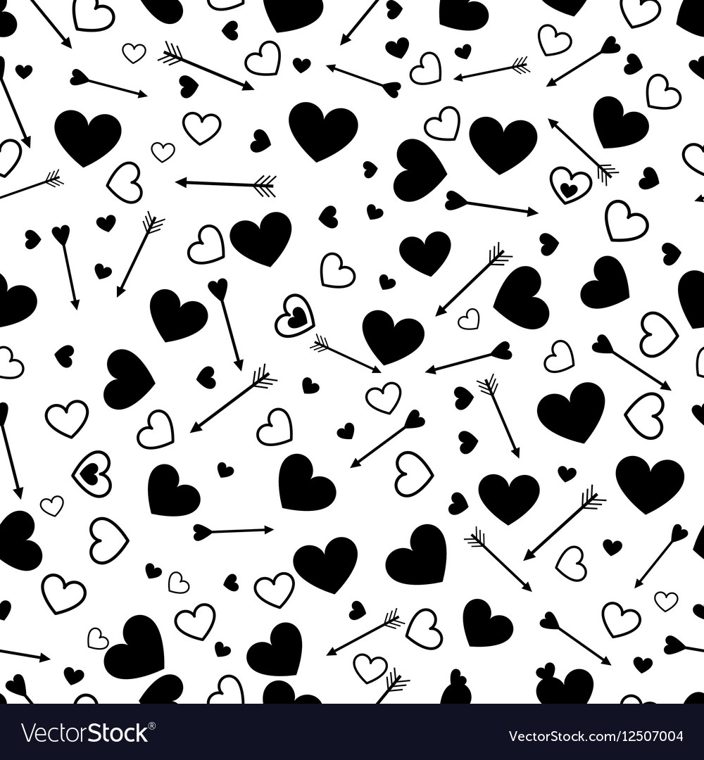 Valentine heart love seamless pattern with arrows