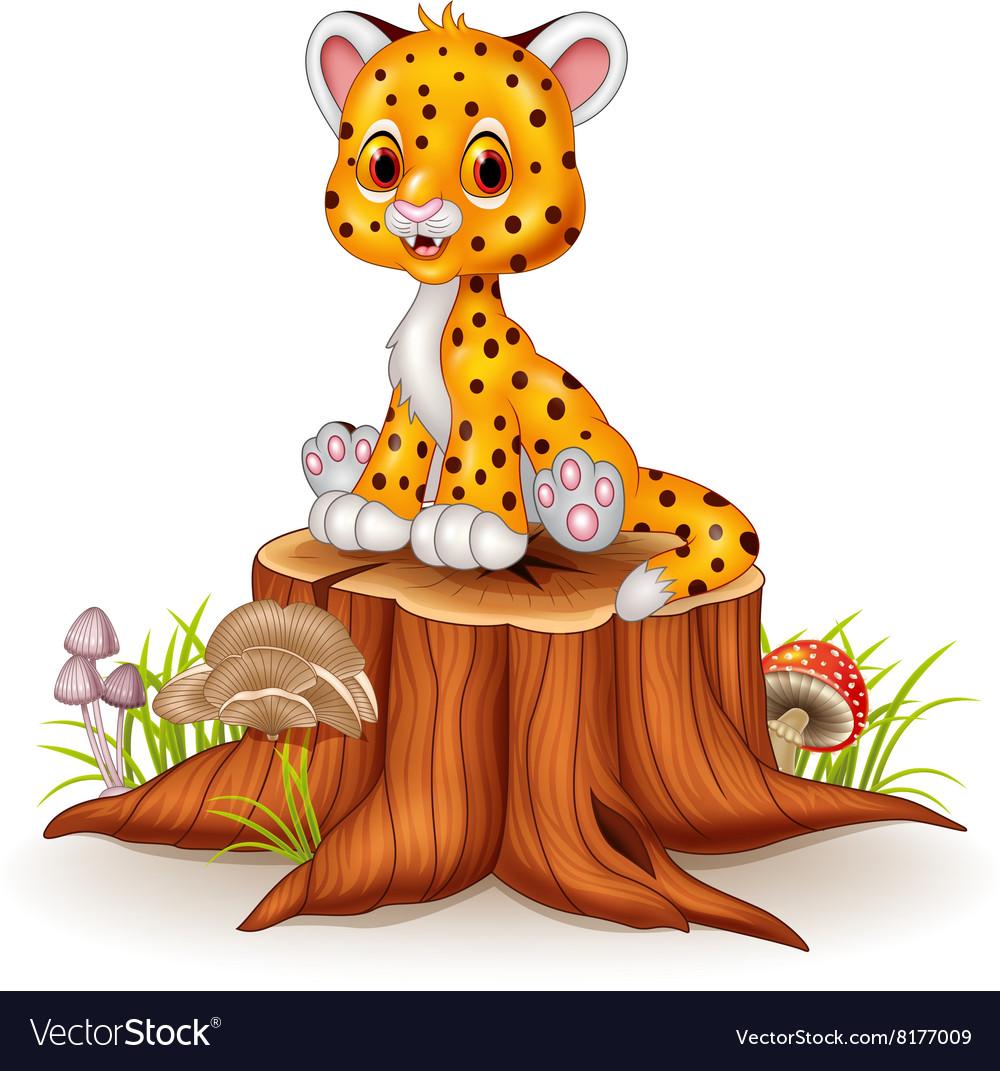 Cartoon happy baby cheetah sitting on tree stump vector image