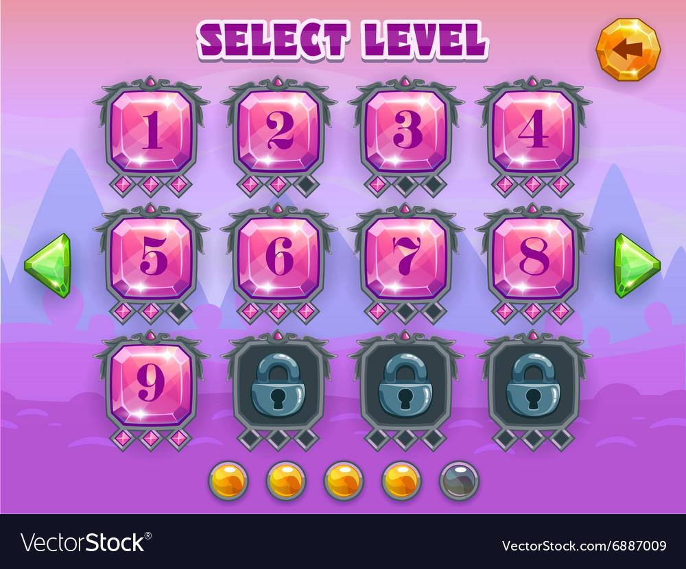 Cartoon level selection game screen
