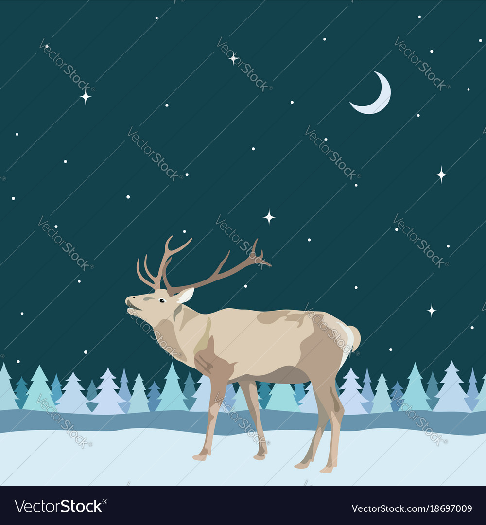 Decorative border from winter reindeer with antler vector image