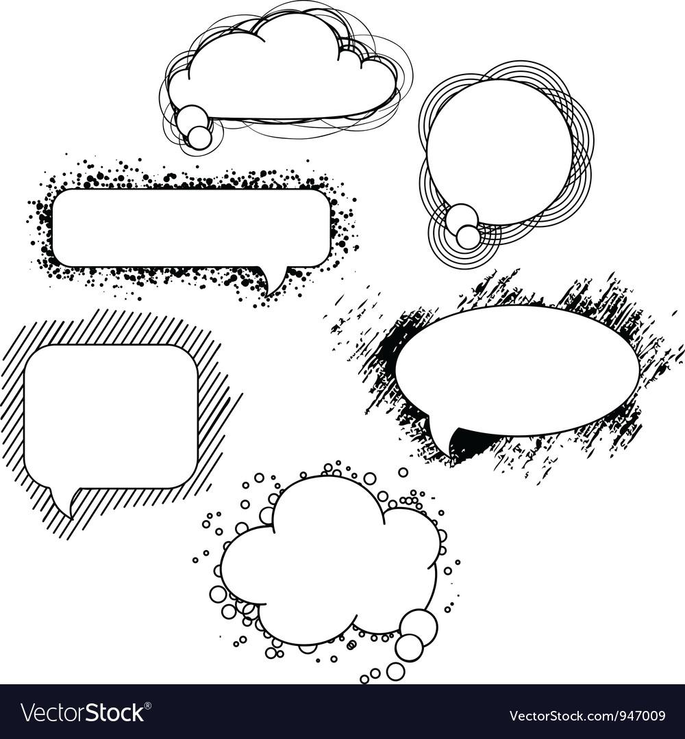 Drawn speech bubbles Set