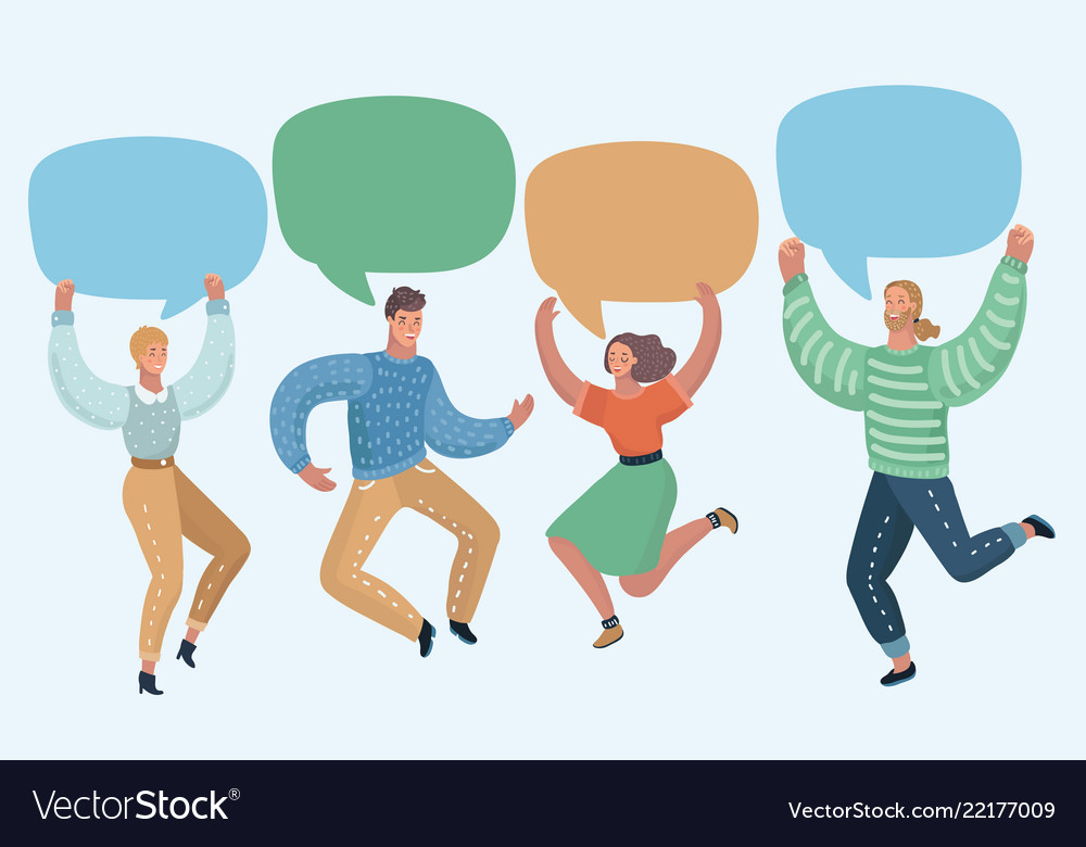 Group of people with speech bubbles jumping