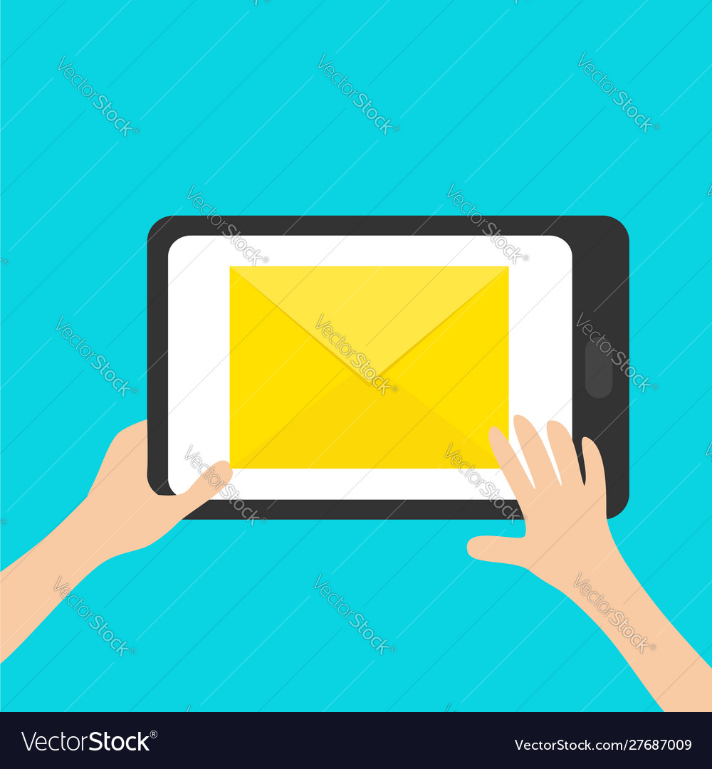 Hands holding genering tablet gadget tab email