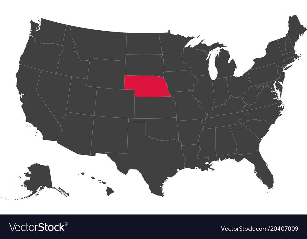 Map Of Usa Nebraska Royalty Free Vector Image
