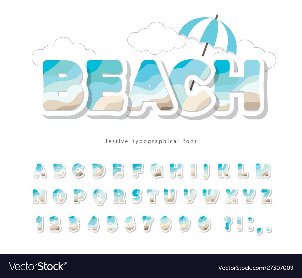Modern seaside landscape font paper cut out abc