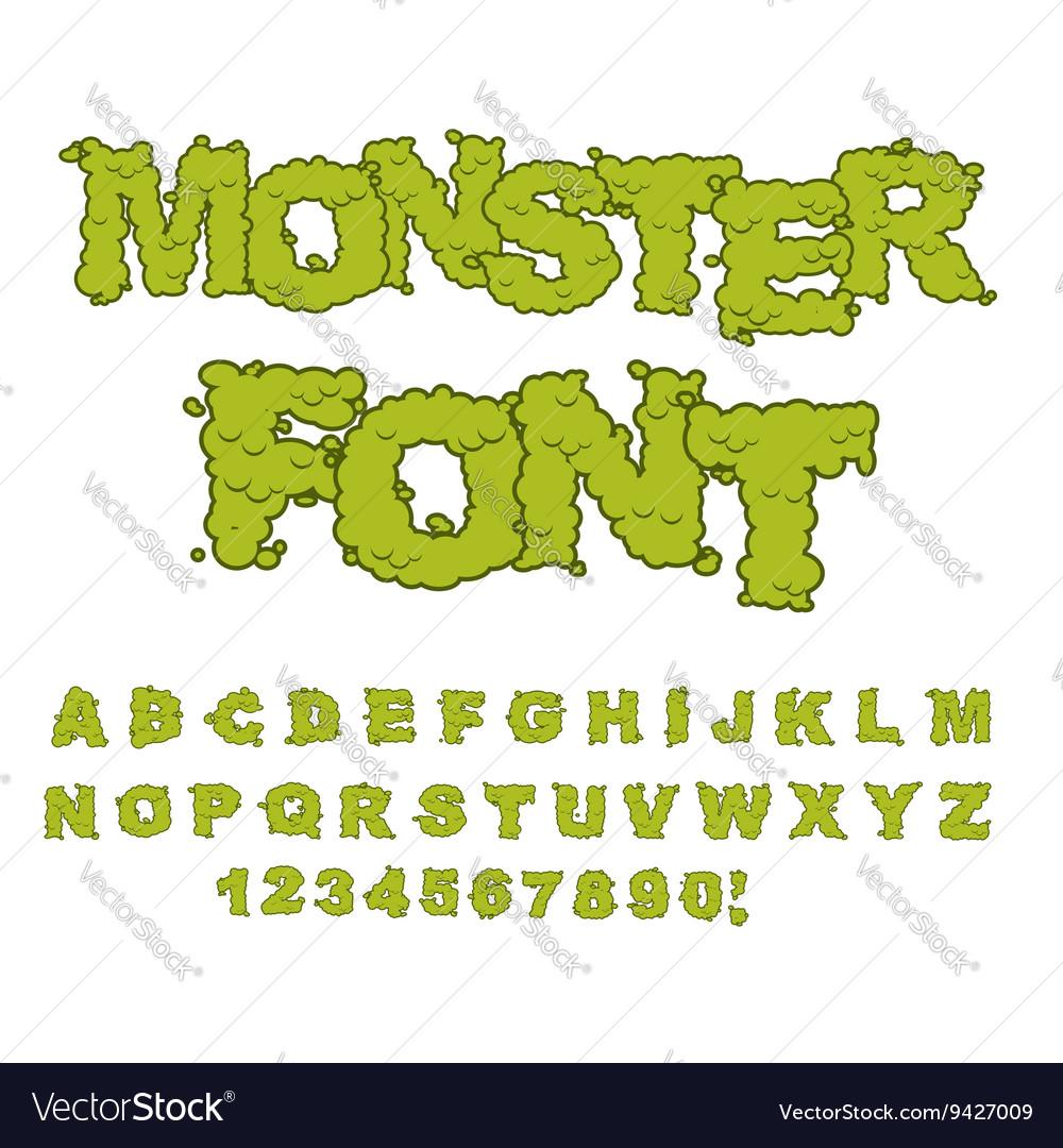 Monster font Horrible Alphabet letters of green vector image