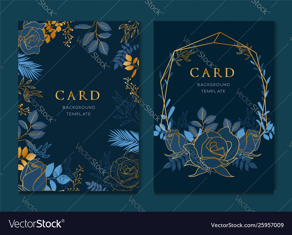 Navy blue card with golden leaves wedding