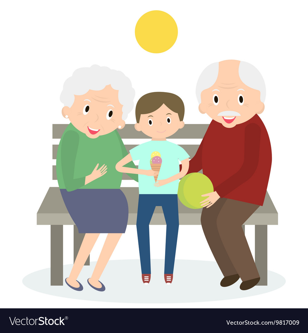 Senior people happy leisure time with grandson