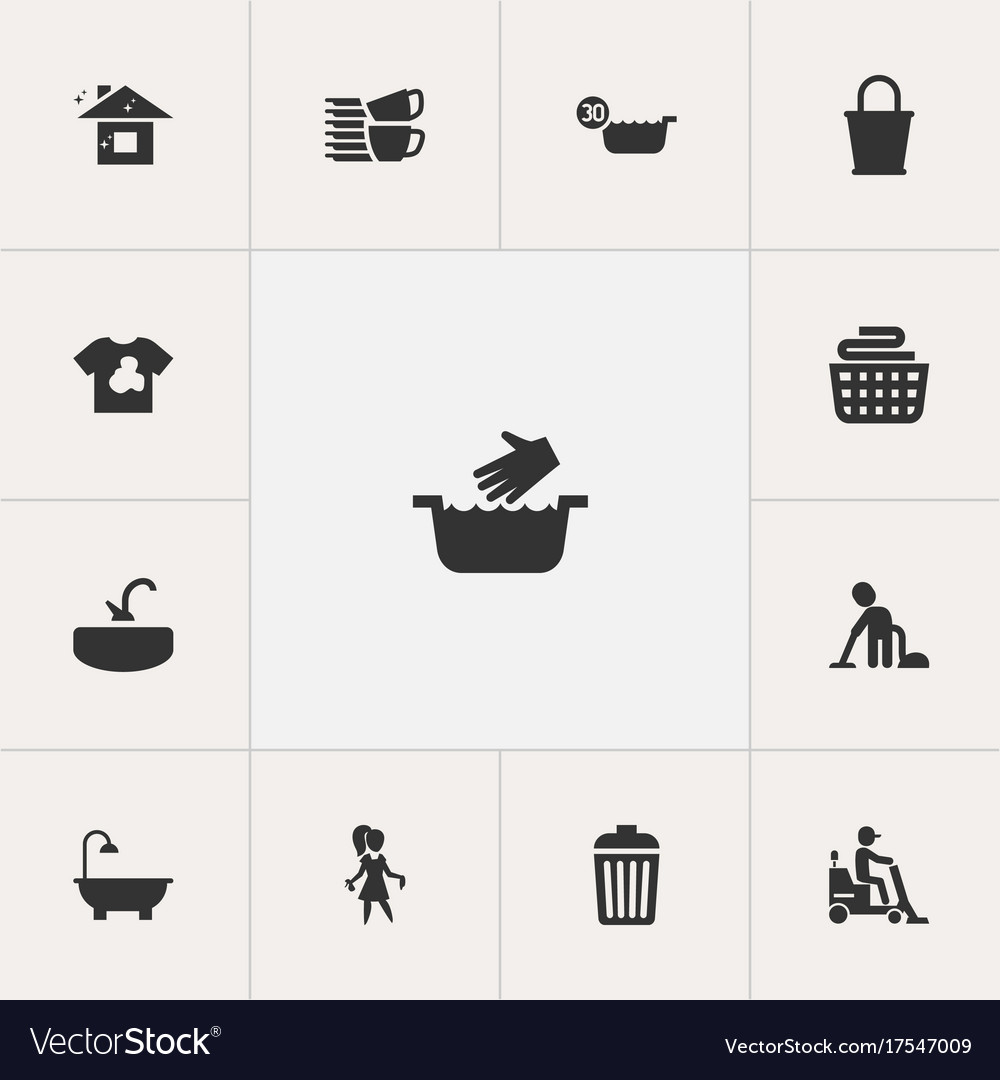 Set of 13 editable cleanup icons includes symbols vector image