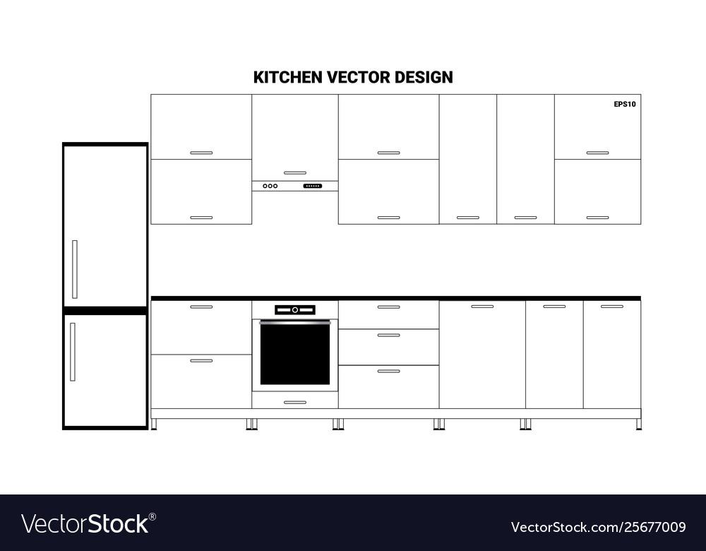 Sketch modern kitchen interior in