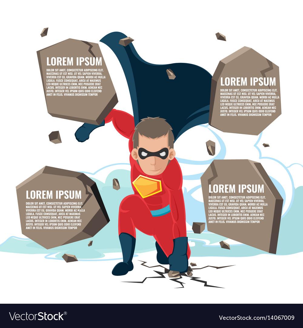 Superhero Actions Cartoon Character Template Vector Image