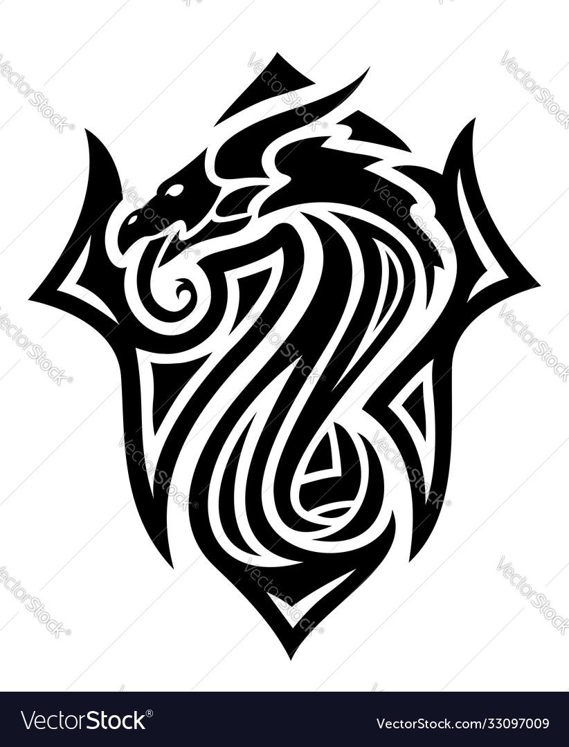 Tribal tattoo art with black dragon head