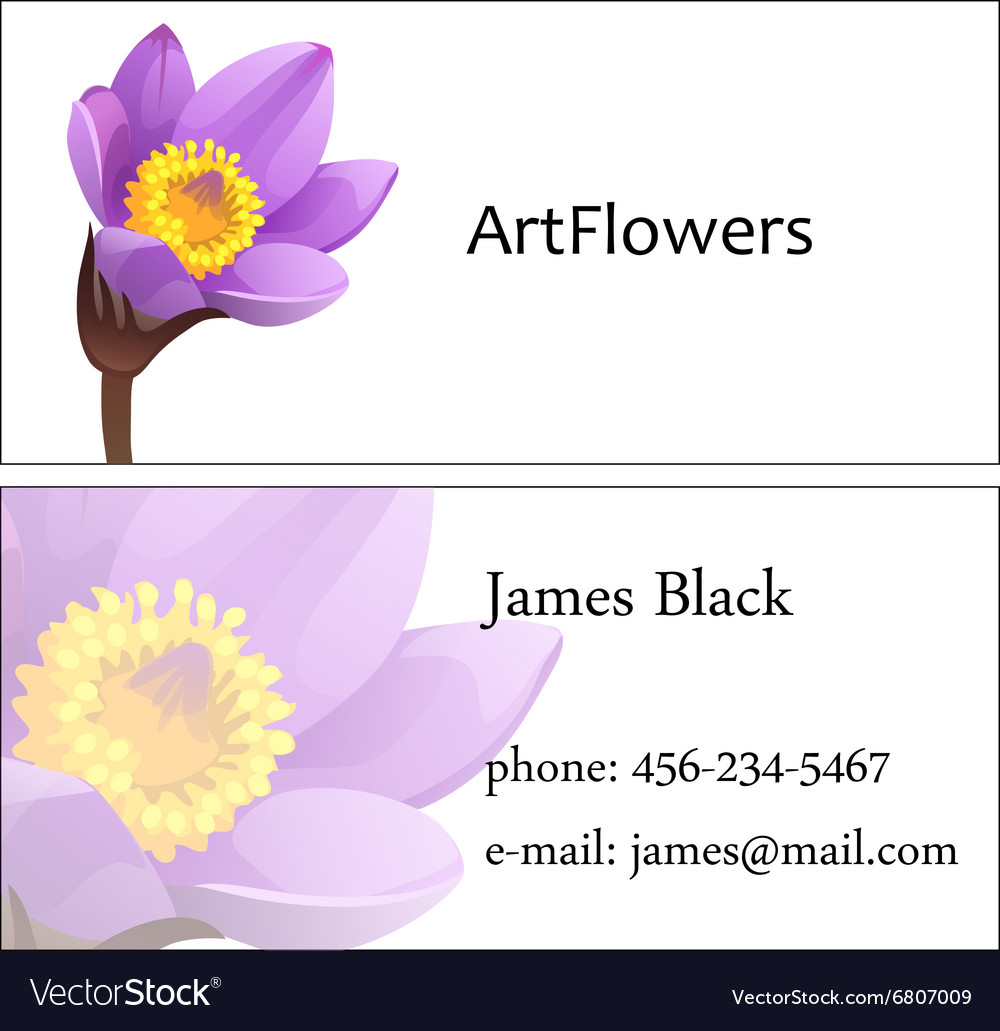 Two-sided business visit card with floral pattern