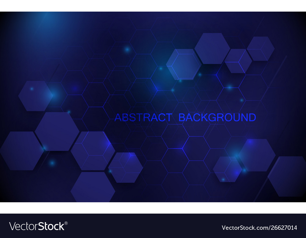 Abstract blue hexagons with technology background