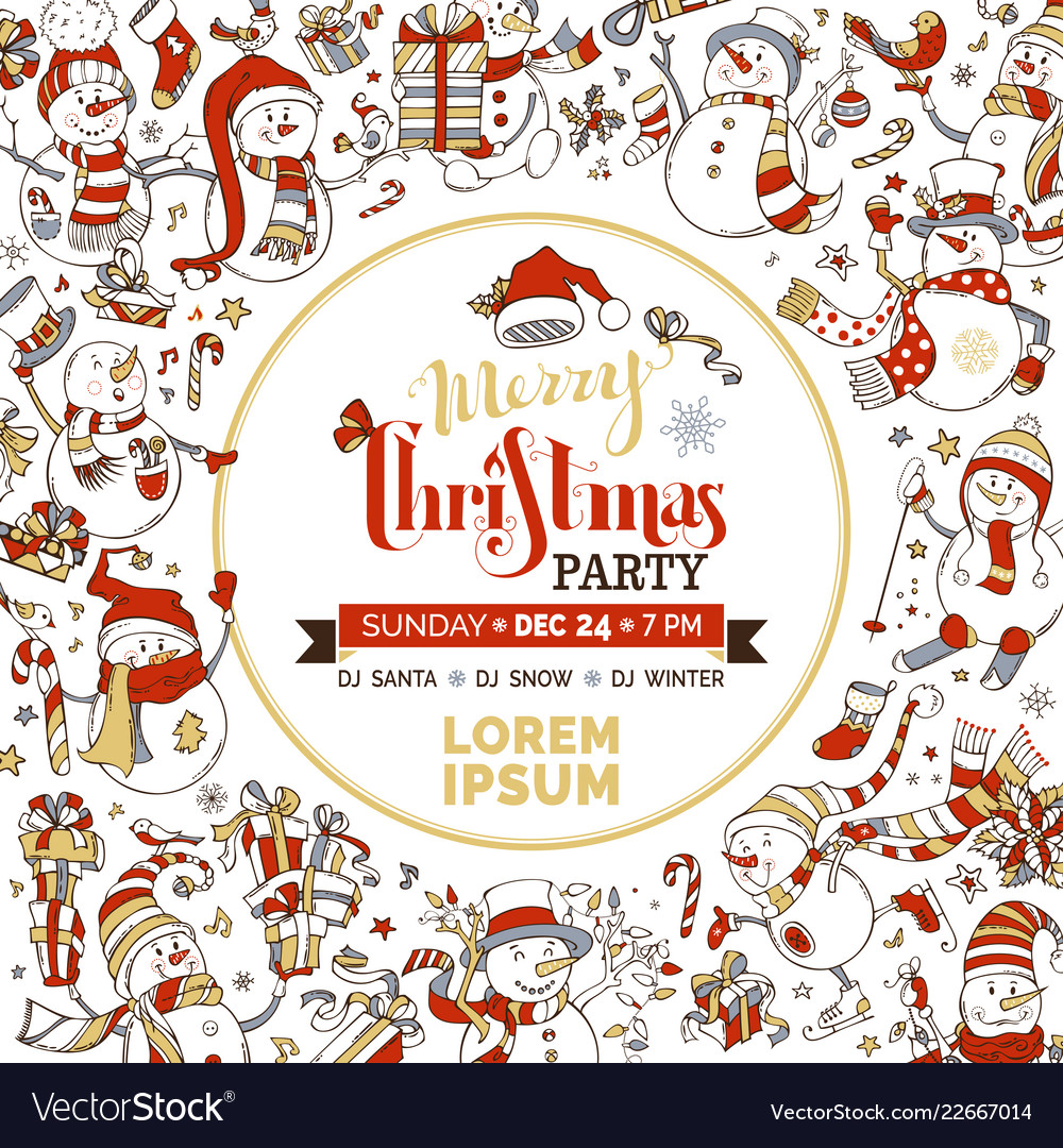 Cute Christmas Party.Christmas Party Invitation Template With Cute