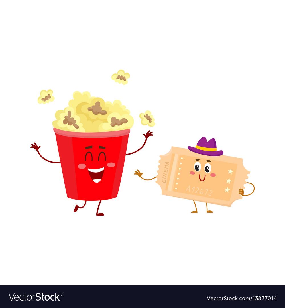 Cinema popcorn and vintage movie ticket characters