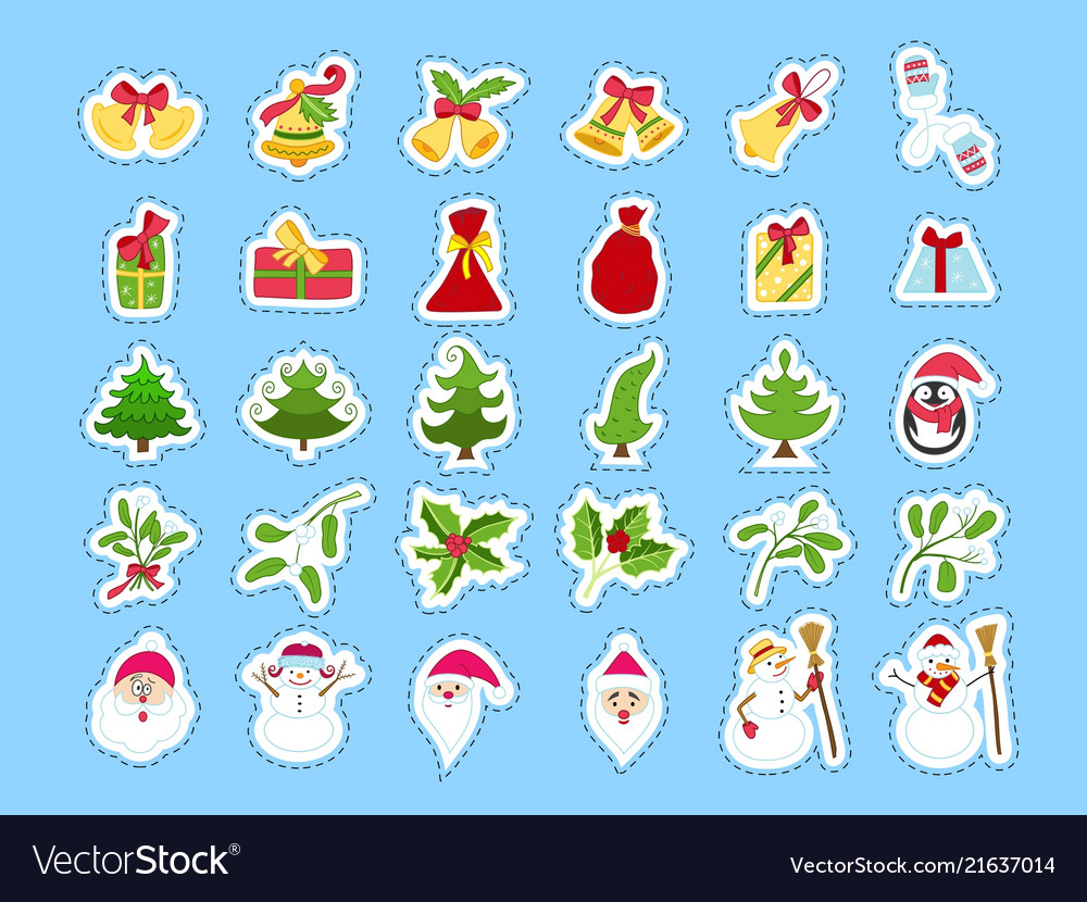 Cute cartoon christmas sticker collection