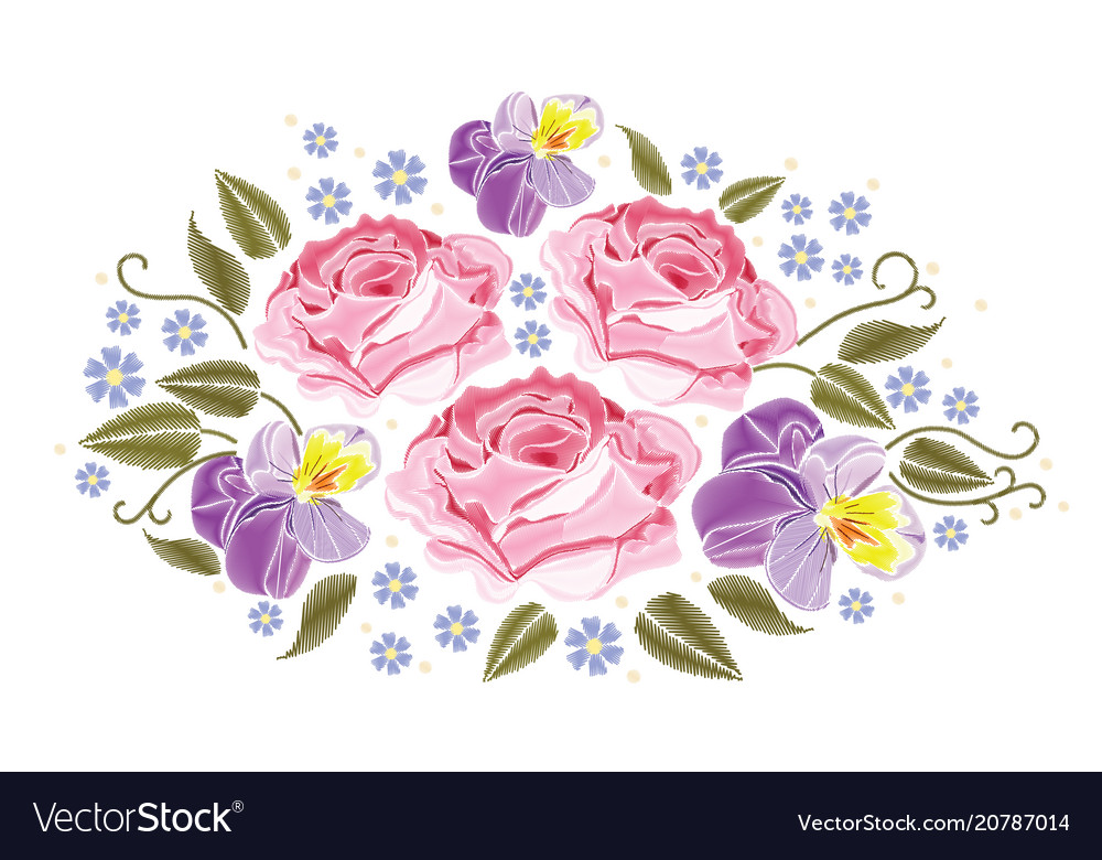 Flowers roses and pansies isolated on white