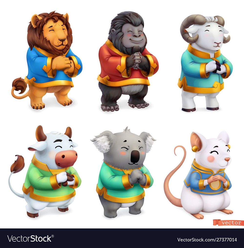 Funny animals lion gorilla ram bull koala mouse