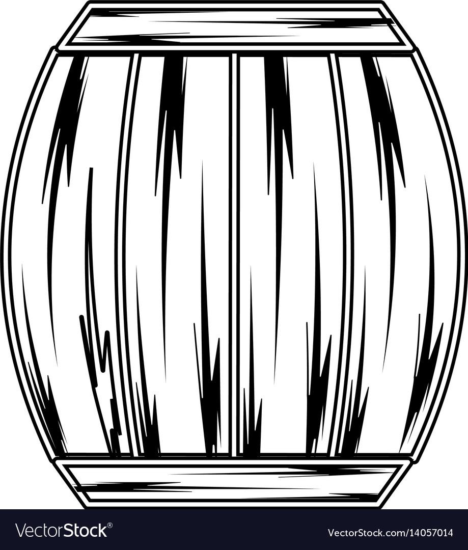 Line wood barrel of wine beverage tasty vector image