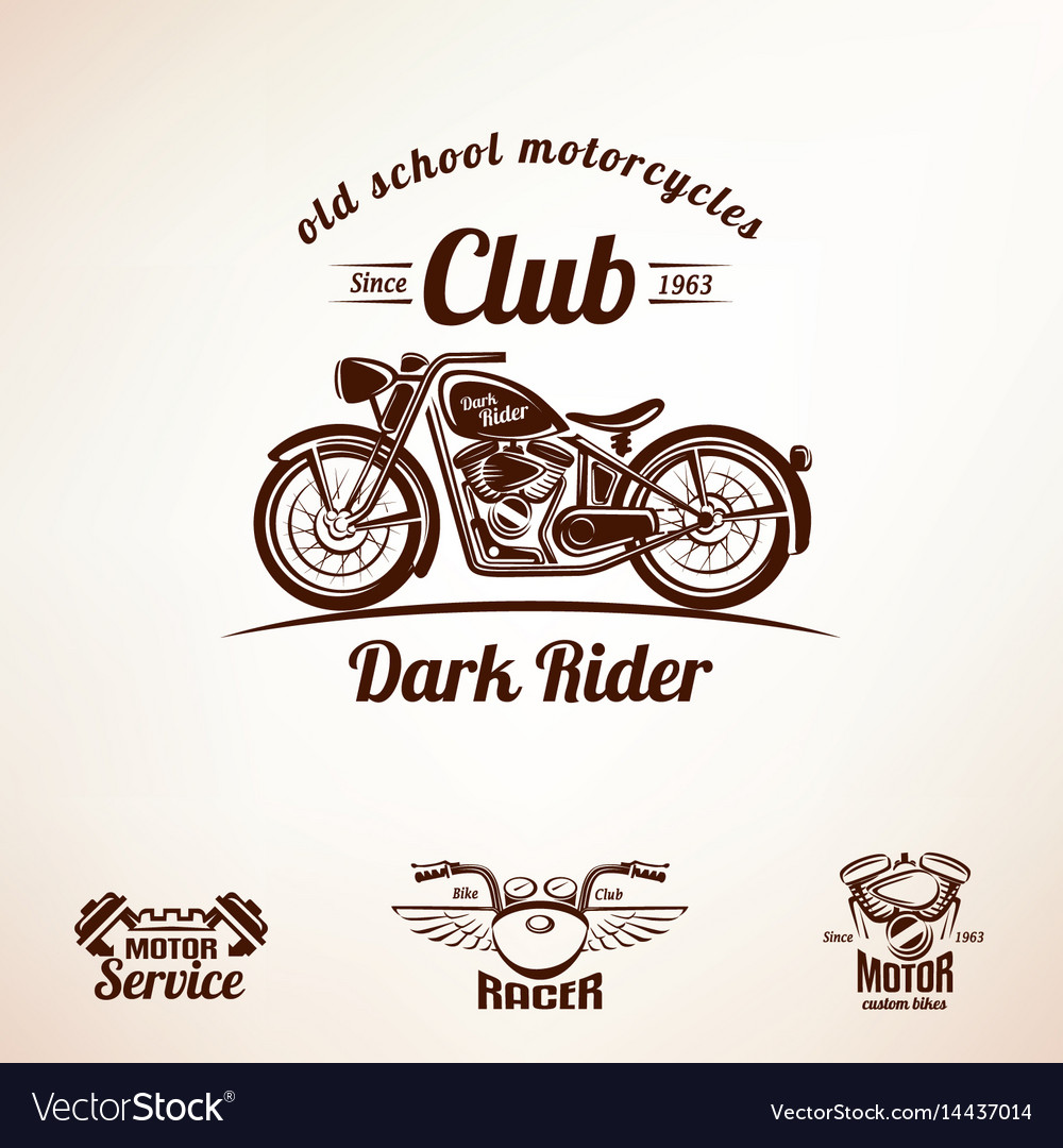 Motorbikes emblems and labels set retro motorcycle