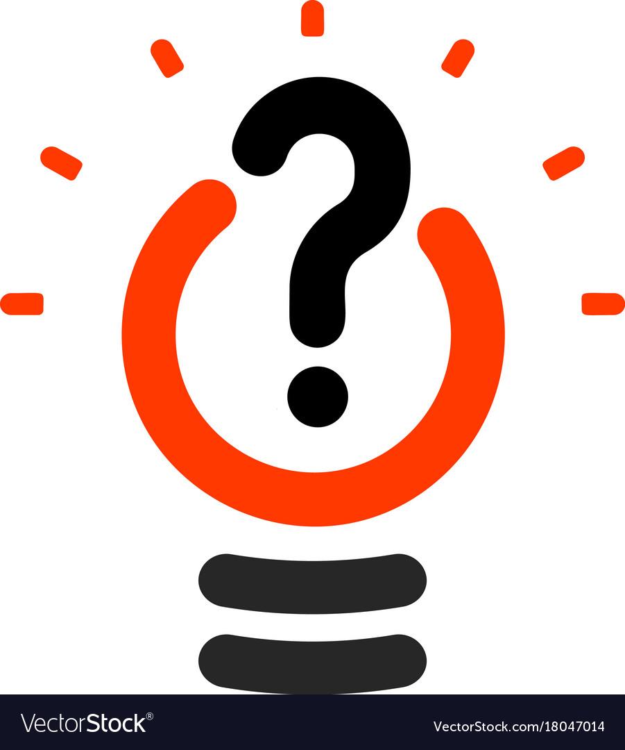 New Question Mark Symbol Flat Bright Cartoon Bulb Vector Image