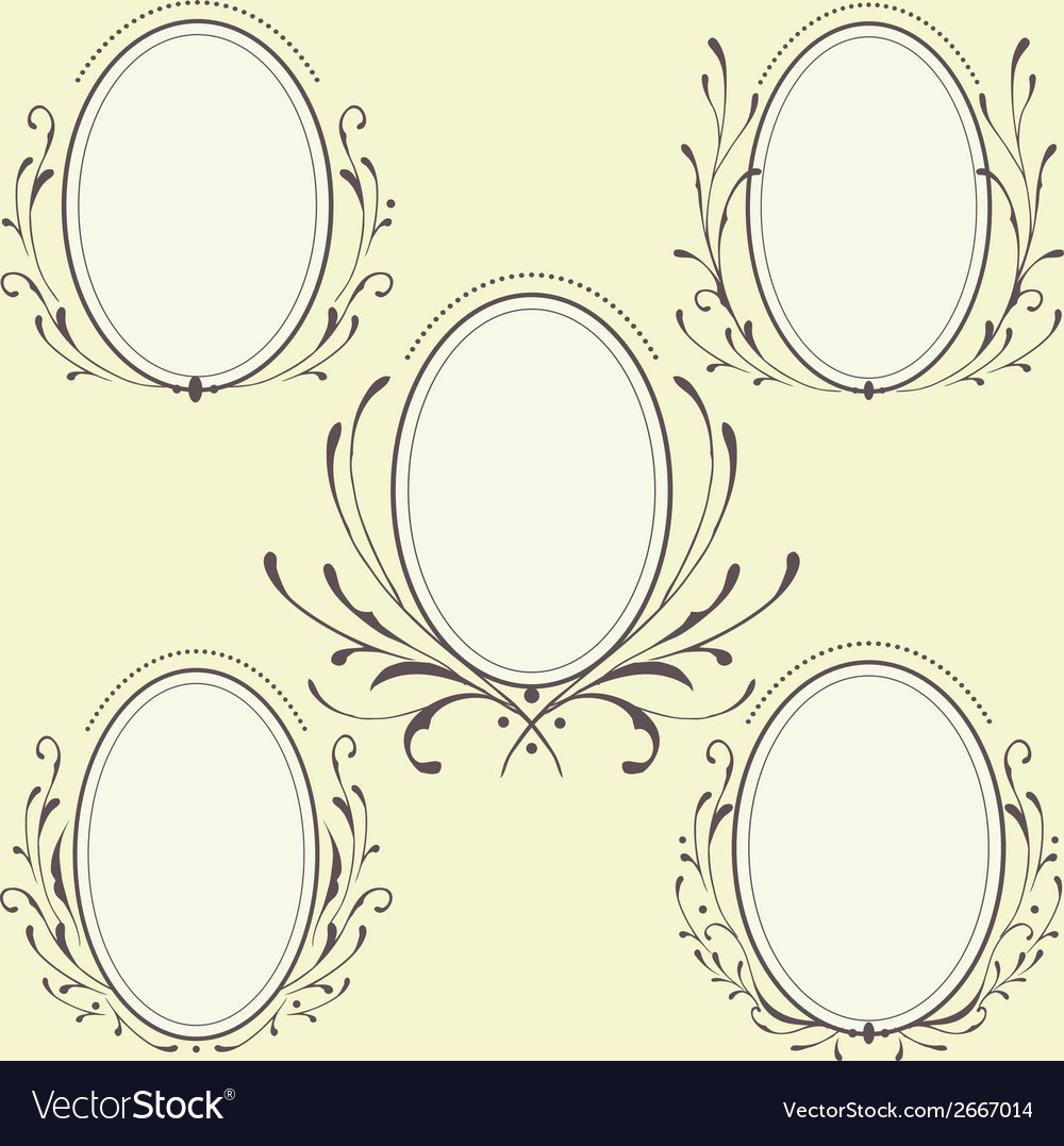 Oval Floral frames ornament Royalty Free Vector Image