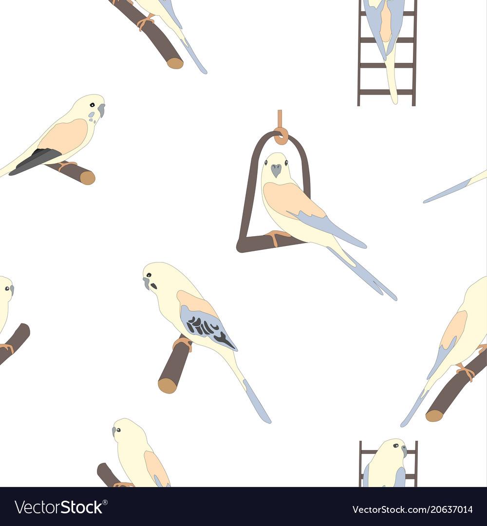 Seamless hand drawn pattern with beautiful birds