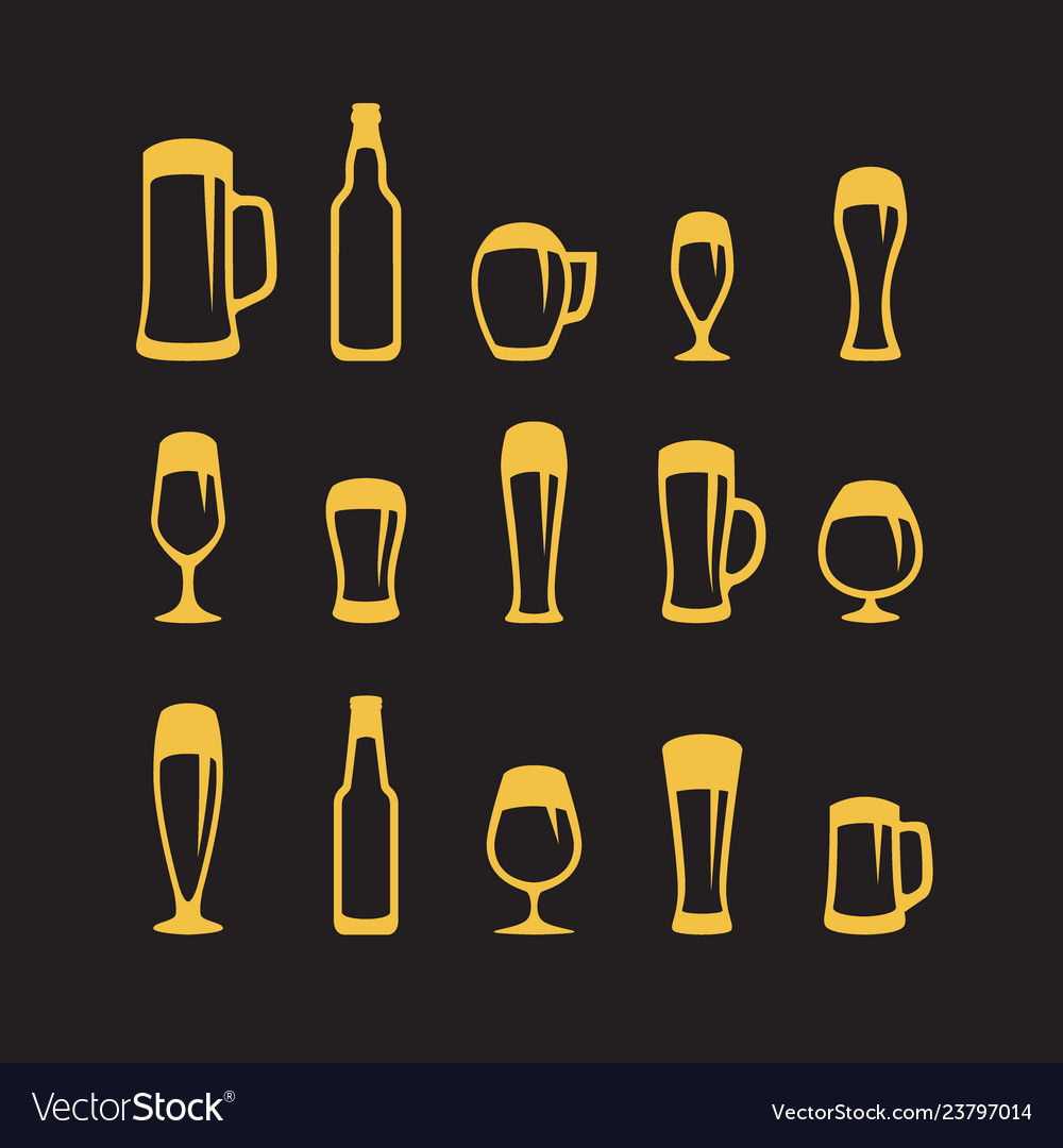 Set beer glasses and beer mugs icons on black