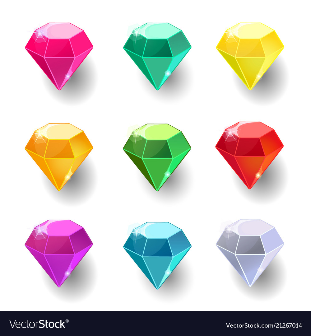 Set cartoon round different color crystals