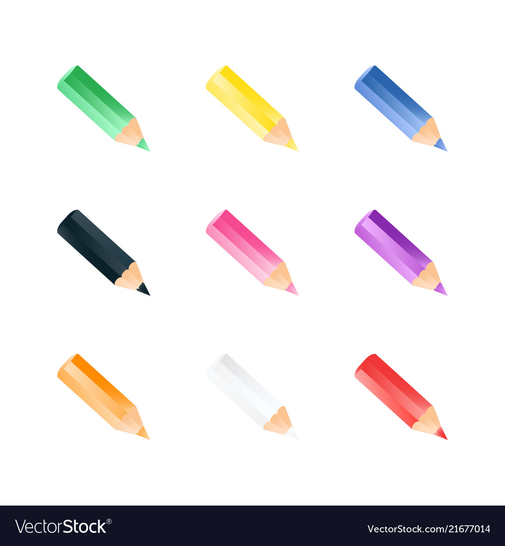Set of color small pencils realistic style