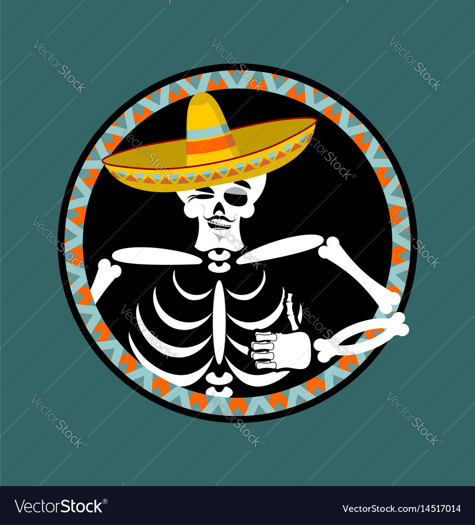 Skeletons and sombrero day of the dead