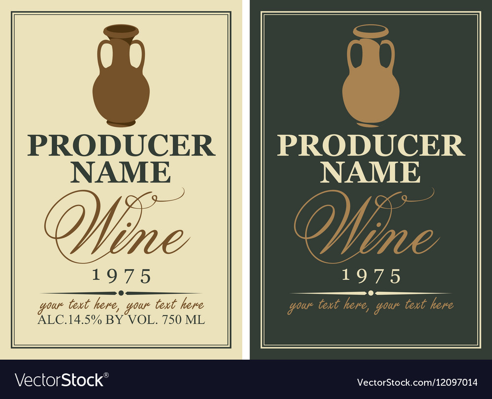 Wine labels with a clay jug