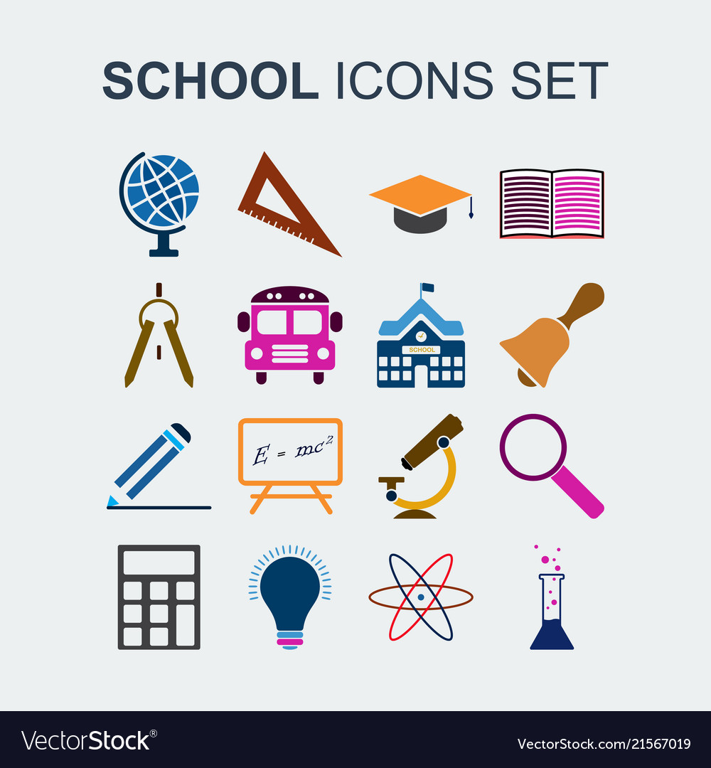 Colored school icons set