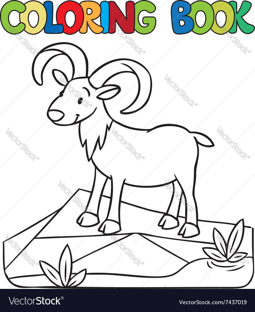 Coloring book of little funny urial or ram Vector Image