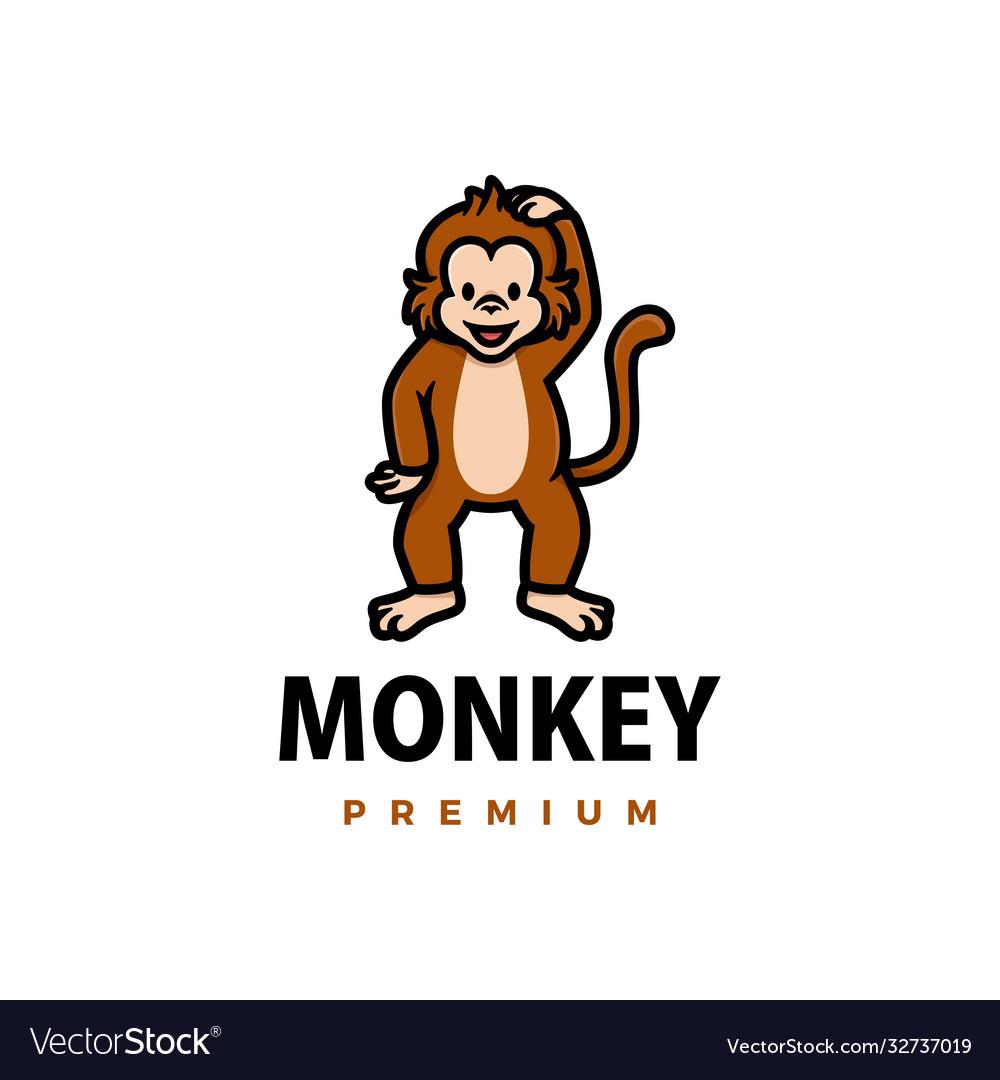 Cute monkey cartoon logo icon