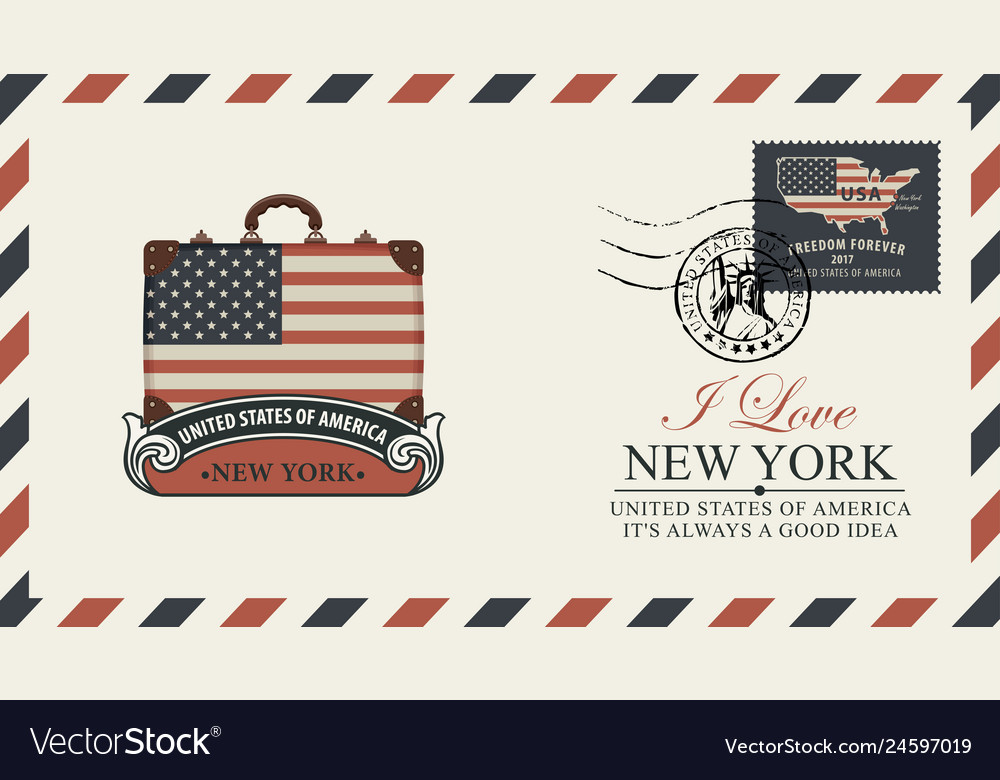 Envelope with suitcase statue liberty and flag