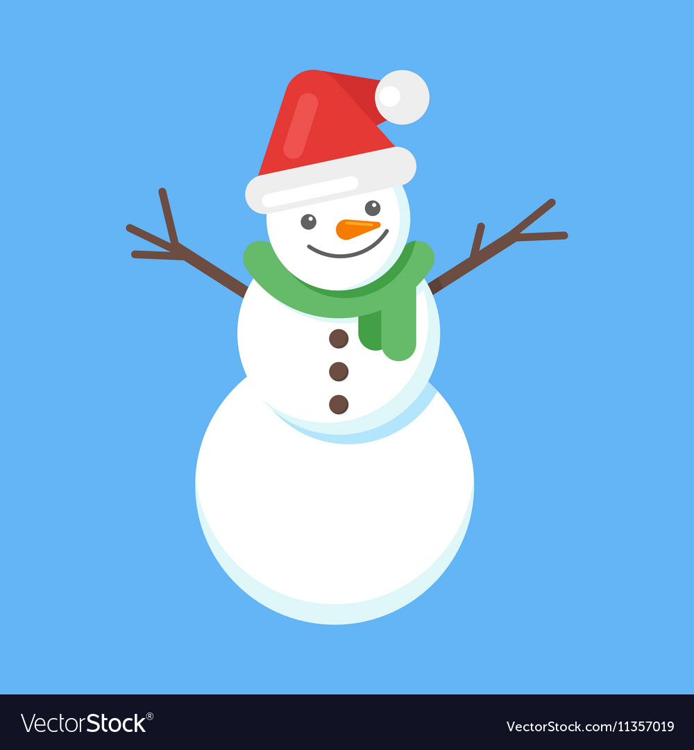 Flat style of happy cute snowman in Santa hat and