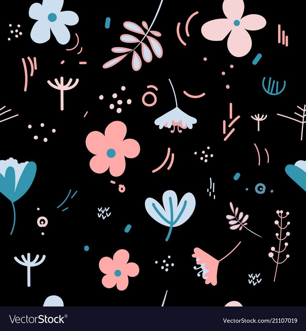 Flowers and leaves in spring pastel colors vector image