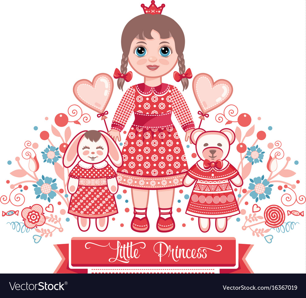 Happy Birthday Greetings Card For Girl Vector Image