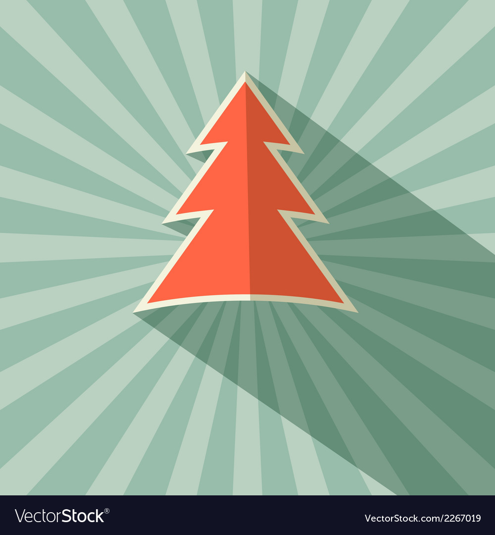 Paper Tree Retro on Green Background