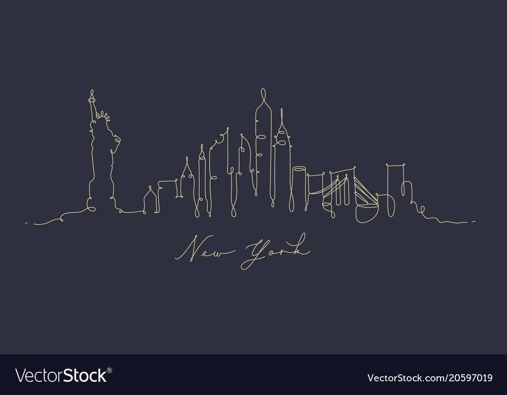 Pen line silhouette new york dark blue vector