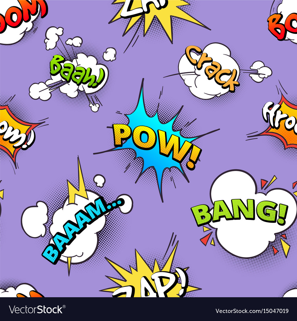 Seamless pattern of cartoon comic speech bubbles