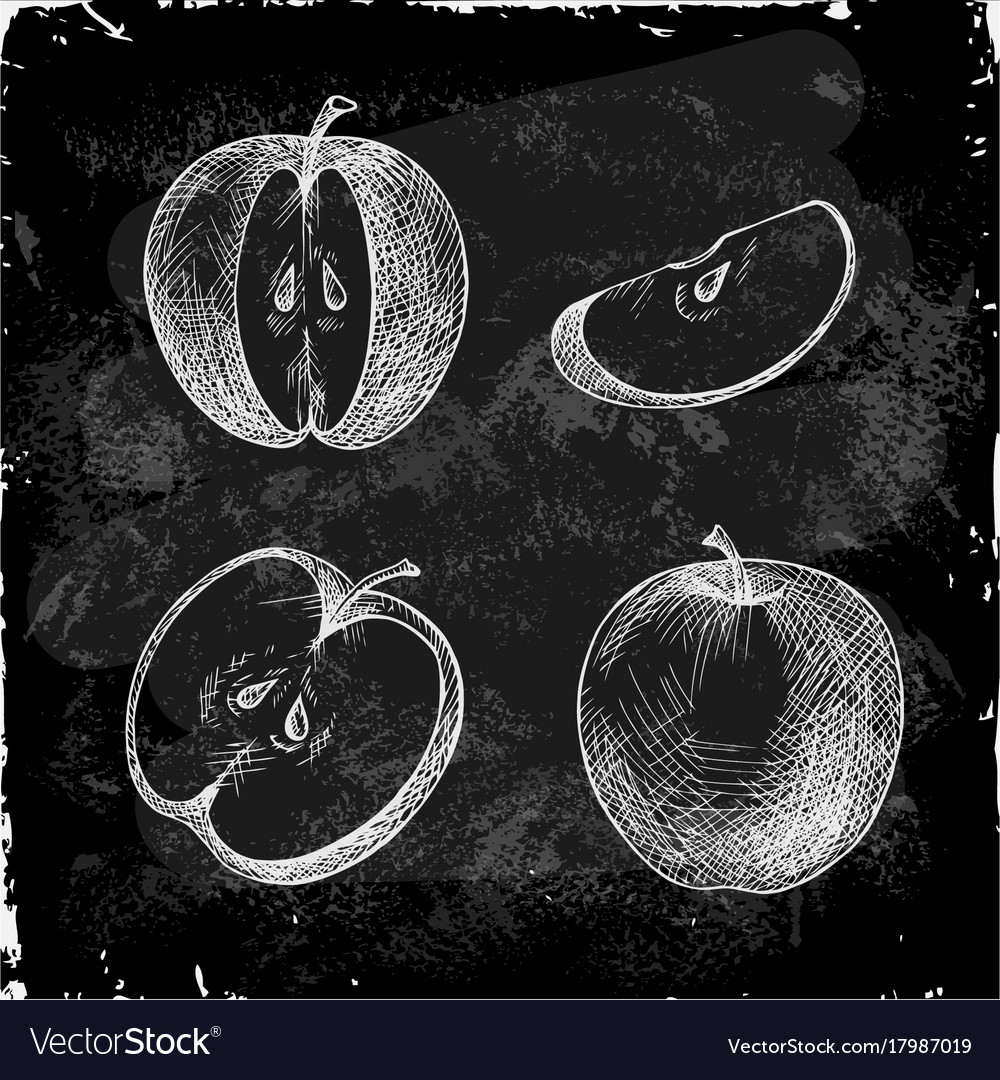 Set hand drawn apple