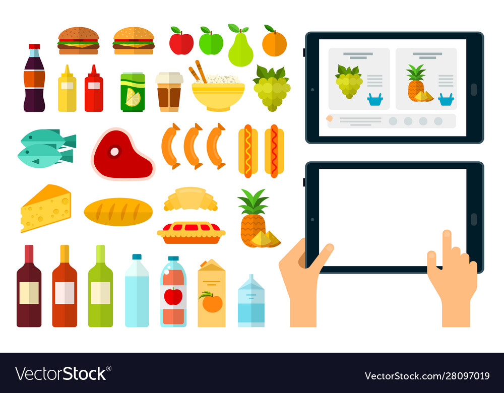 Set online products online icons flat