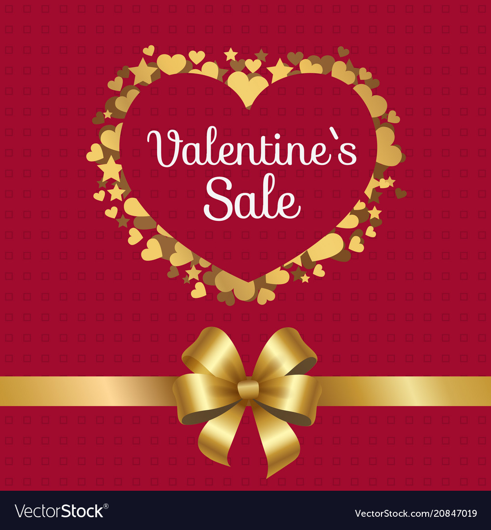 Valentines sale poster heart made of golden stars