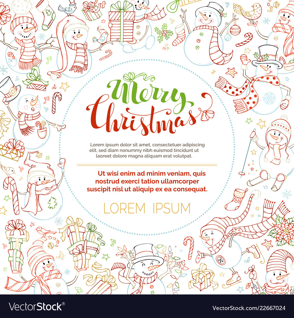 Christmas outlined snowmen background