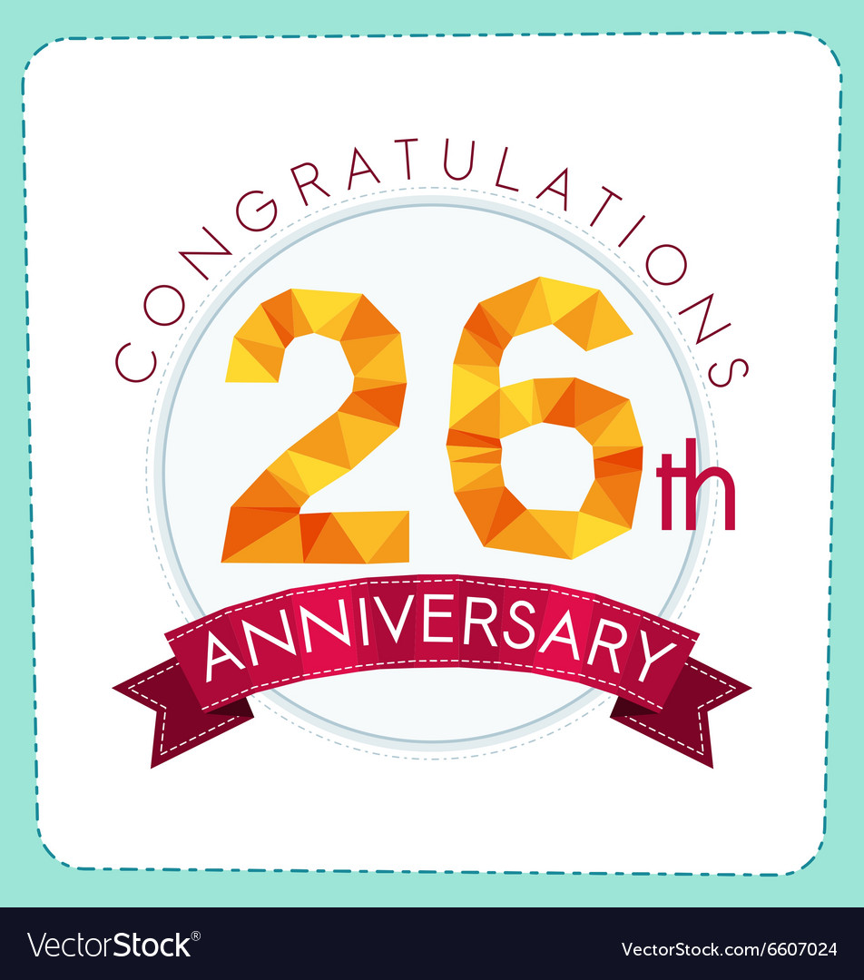 Colorful polygonal anniversary logo 3 026